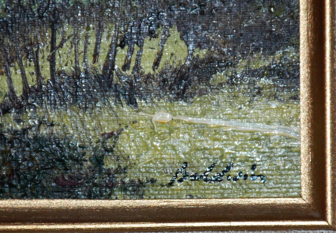 Framed Landscape Oil Painting on Board signed Baldwin