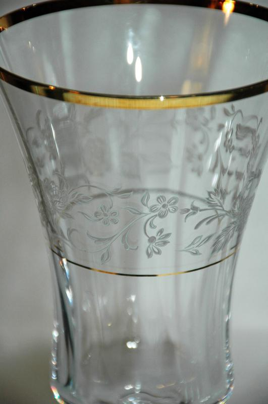 Crystal Water Goblet Stemware Optic with  Gold Trim with Etched Rose Vines
