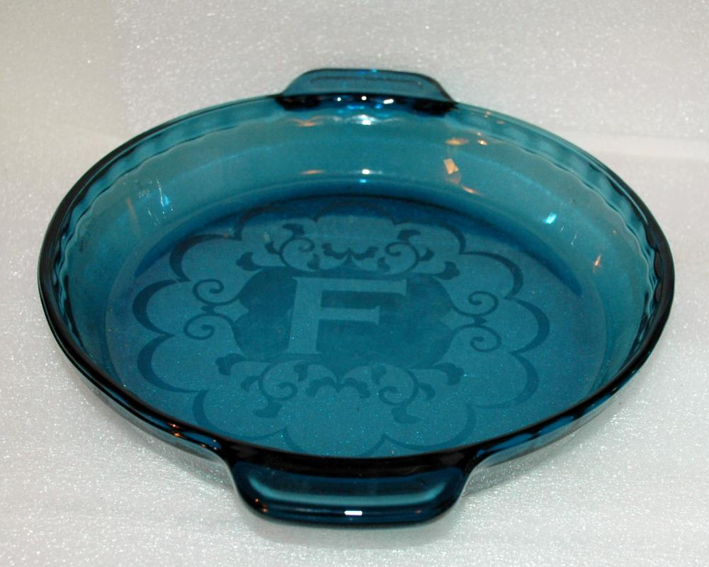 Fire King Anchor Hocking Ocean Blue Deep Dish  Pie Dish with Etching &