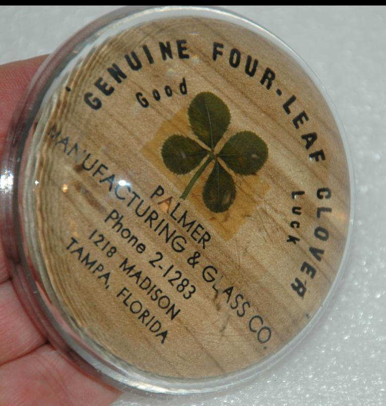 4 Leaf Clover Paperweight Advertising Give -a-Way Palmer Manufacturing and Glass Co.   of Tampa Florida