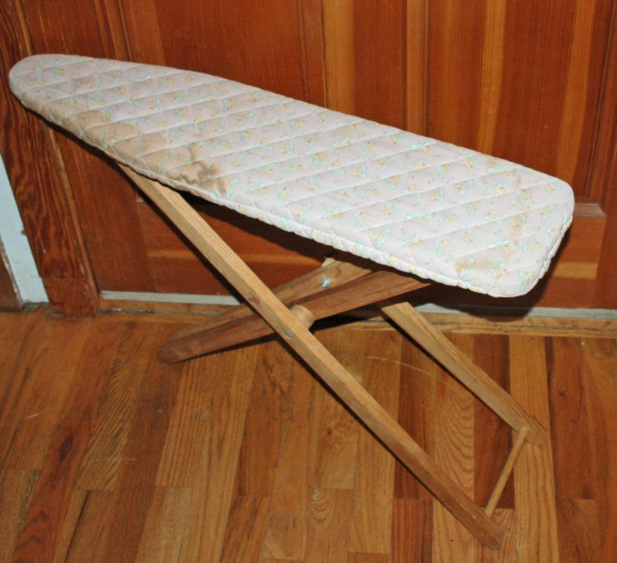 Wooden Child's Play Ironing Board with Cover