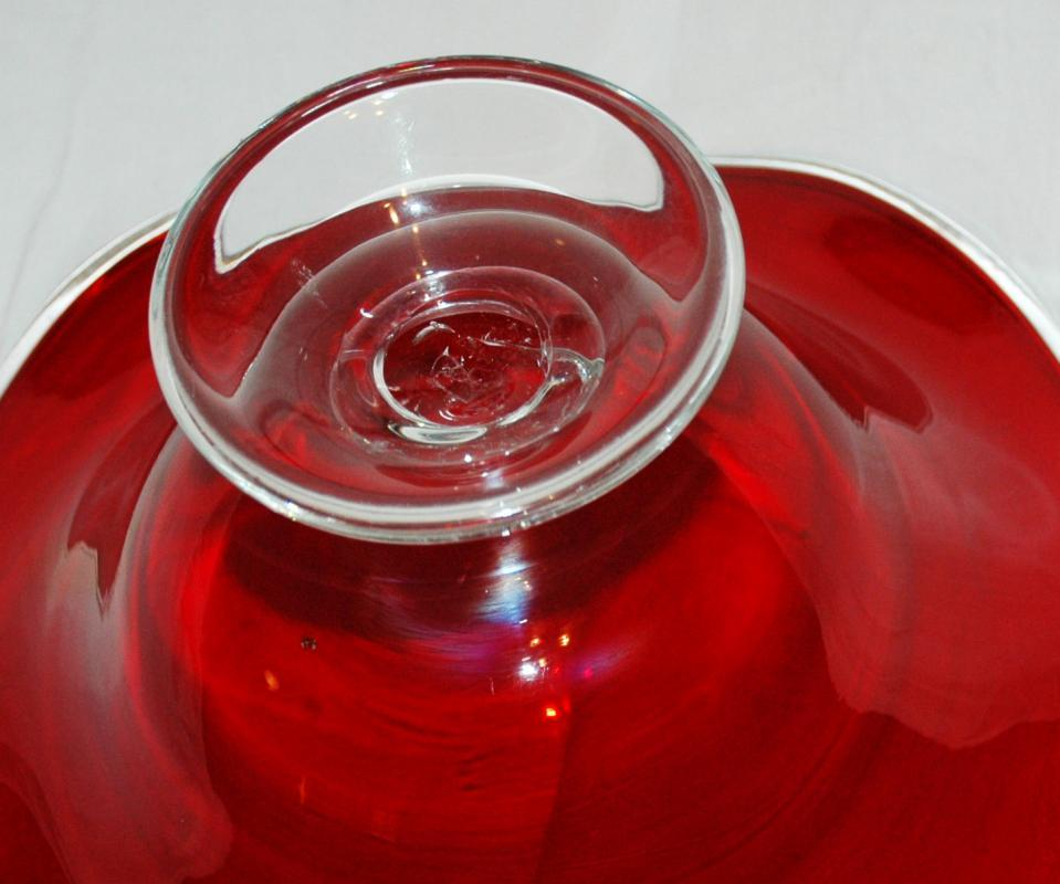 SWUNG GLASS FOOTED BOWL HAND CRAFTED BLOWN GLASS RUBY AND CLEAR