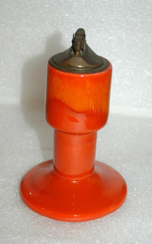 Mid-Century Eames Era Orange Drip Glaze Pottery Table Lighter