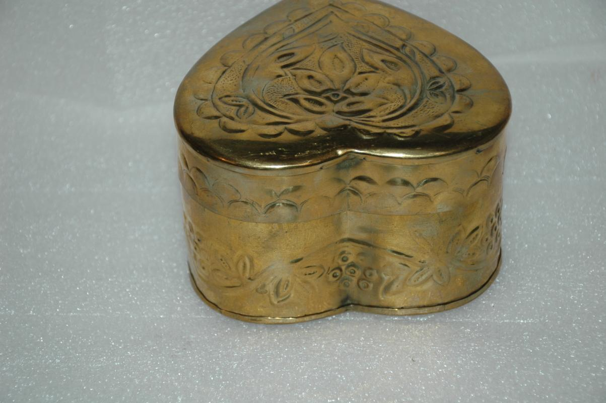 Hammered Brass Repousse Heart Trinket Box Hand Crafted