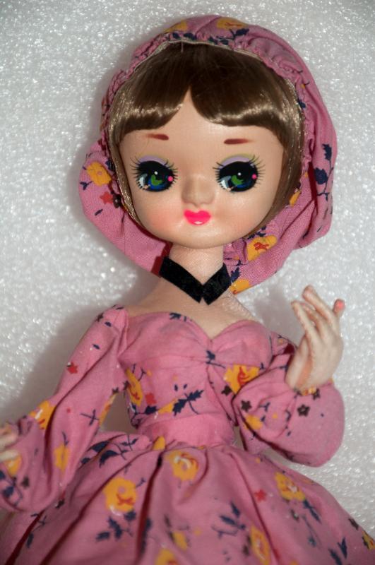 Vintage Bradley Doll  Big Eye Southern Bell in Pink Dress and Bonnet