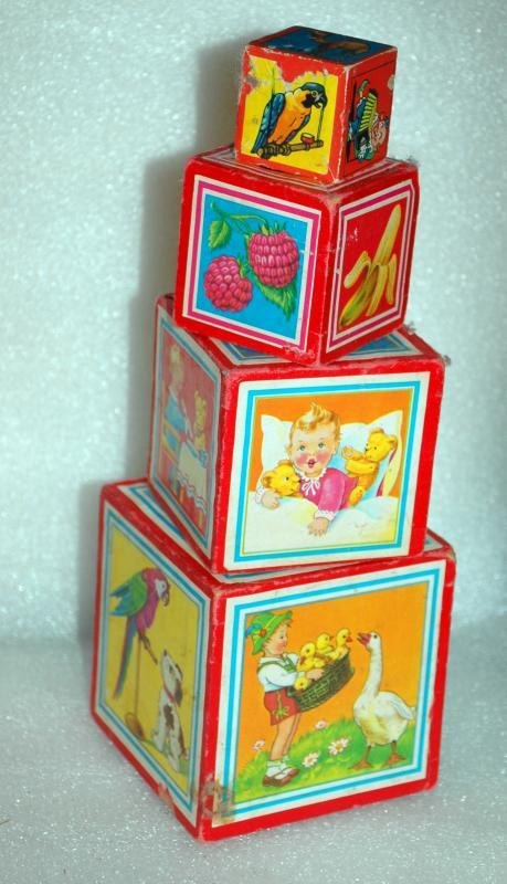German  Child's Wood Toy Nesting Stacking Picture Blocks Boxes set of 4