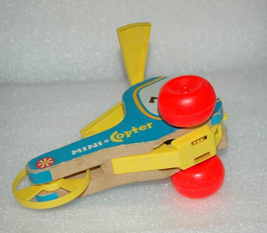 FISHER-PRICE VINTAGE WOODEN PULL TOY MINI COPTER HELICOPTER 1970 #448
