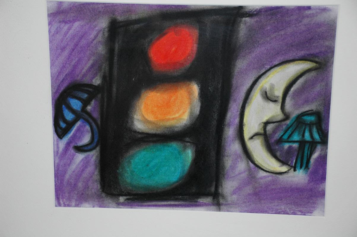Bright Pastel Painting entitled # 2 Stop Light  Framed Behind Glass  , Stop Light ,Man in the Moon, Umbrella.