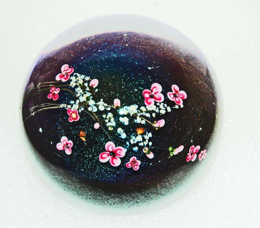 Large Celestial Dichroic Glass PAPERWEIGHT with Pink White Blossoms