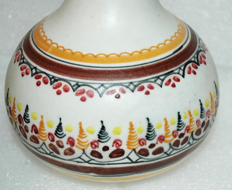Very Old Spanish  Porcelain Pottery Vase signed La Pilarica  JA  8.75