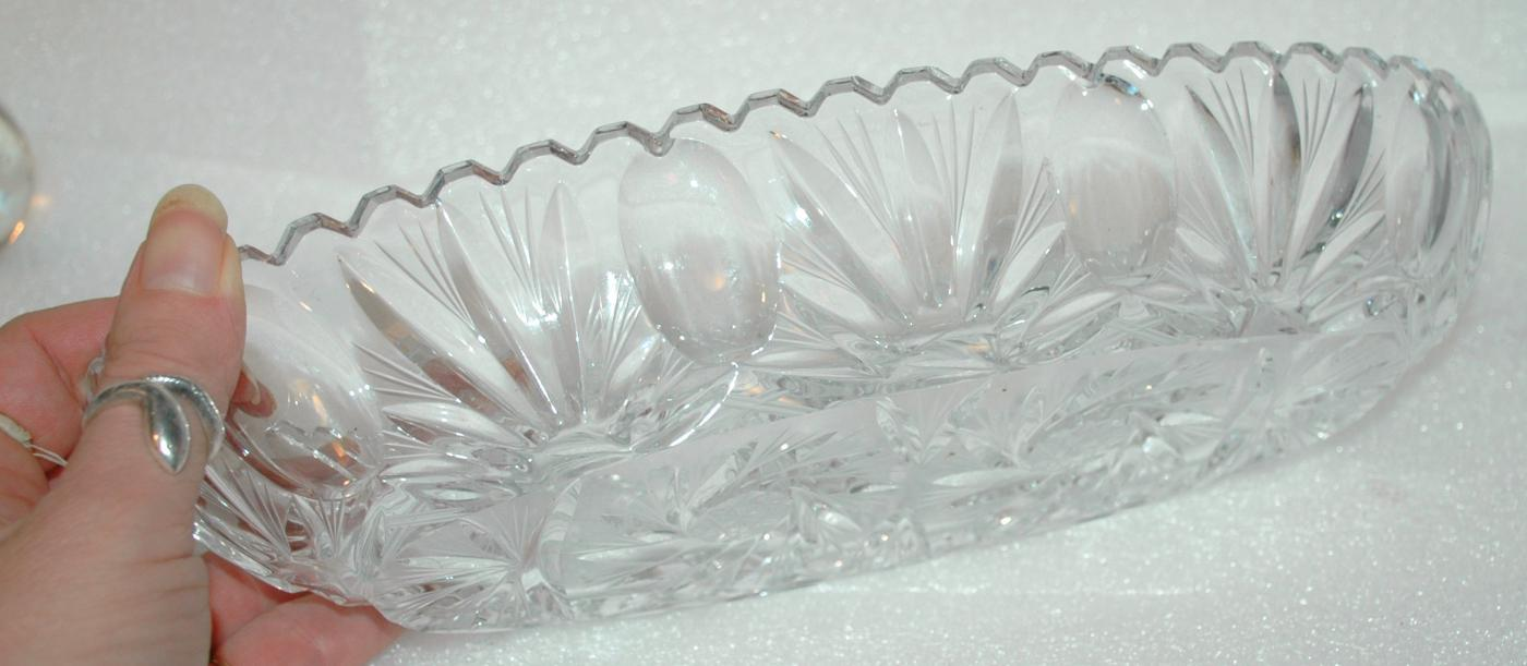 Oval Cut Glass Celery Dish Hobstar Patterns with Ovals and Leaf Sprays ABG