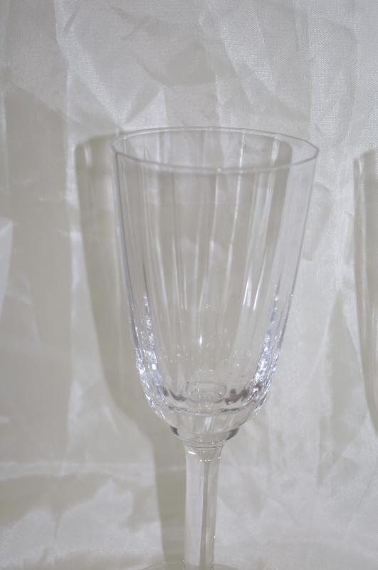 4 Heavy Crystal Stemware Wine Glasses Elegant Clear Stem &  Paneled Bowl 7.5