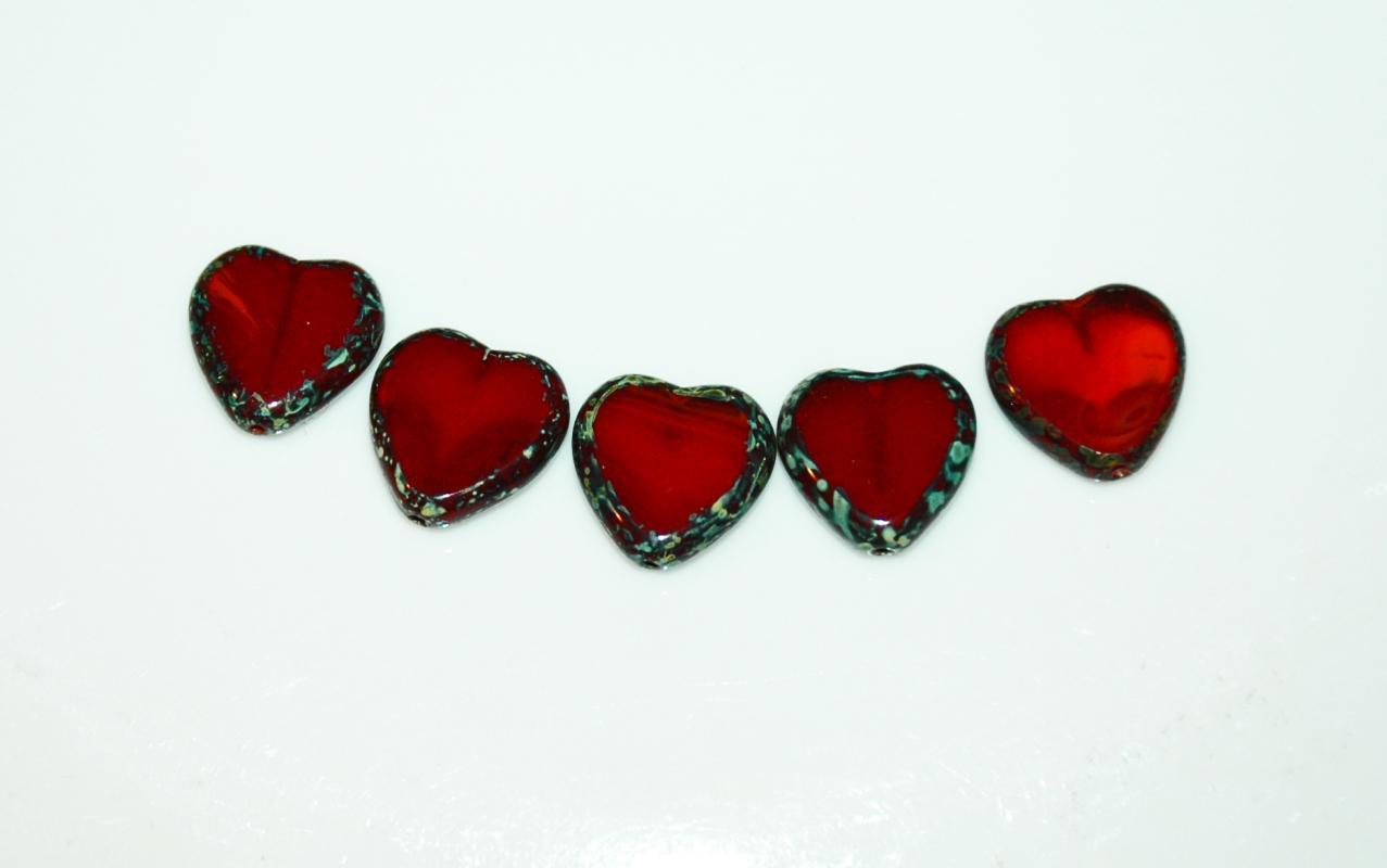 Czech Glass Beads Heart 15mm Oxblood or Garnet  Red   Picasso Lot of 5