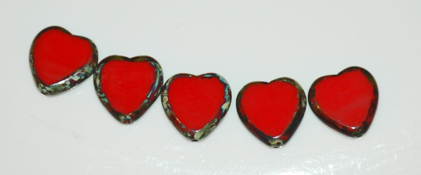Czech Glass Beads Heart 15mm Opaque HOT Red Picasso Lot of 5