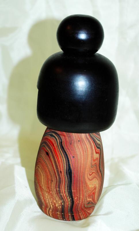 Vintage Japanese  Kokeshi Doll Colorful  Zebra Wood