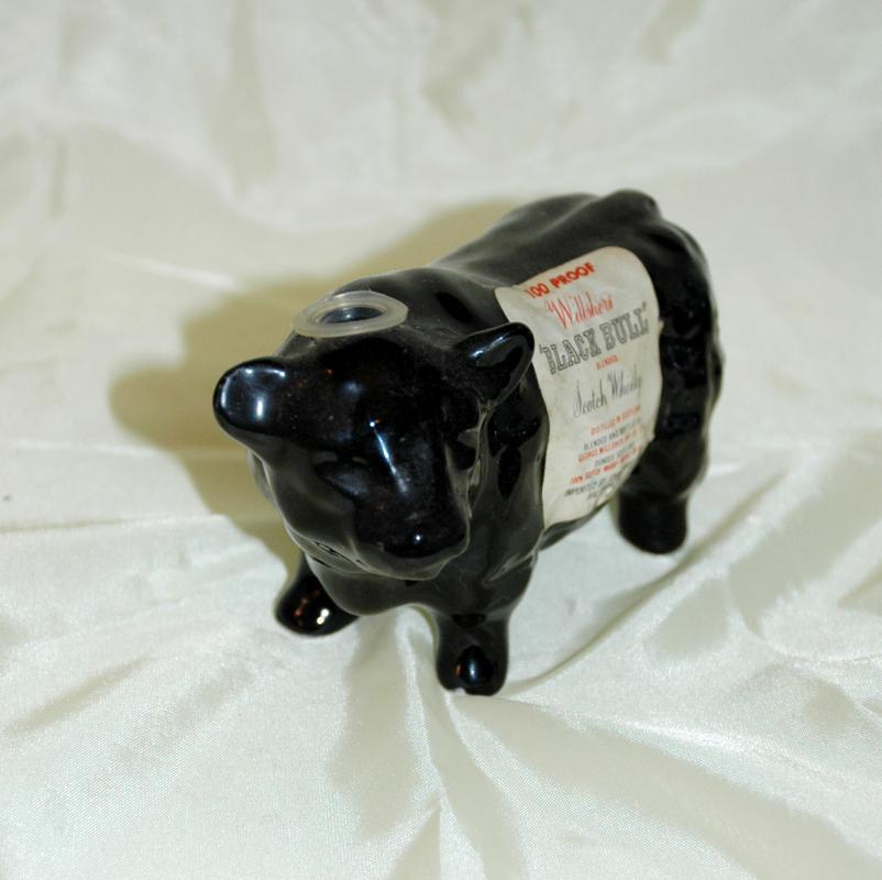 RARE WILLSHER'S BLACK BULL FIGURAL MINI WHISKEY BOTTLE