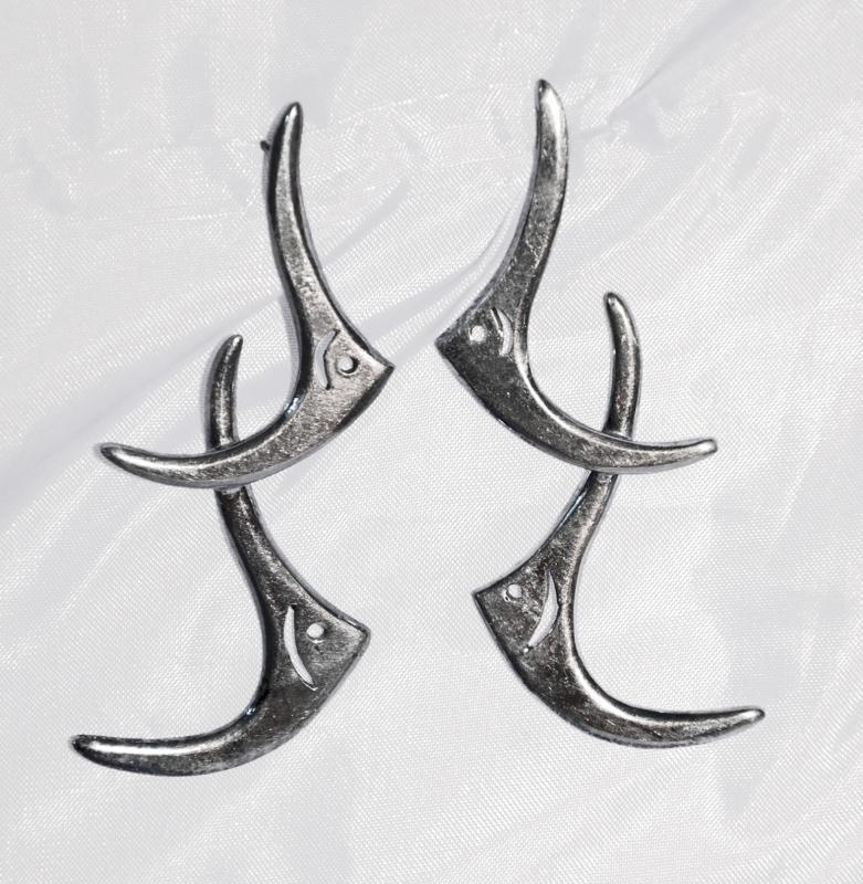 Sterling Silver Taxco Mexican Moderist Angel Fish Earrings