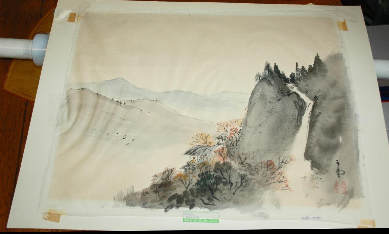 Japanese sumi-e ink painting on silk Landscape  signed Kado Sano .