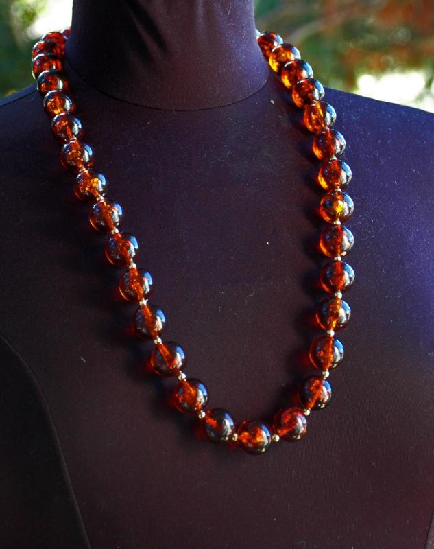 Large Faux Dark Amber Round Beaded Necklace  30 inches