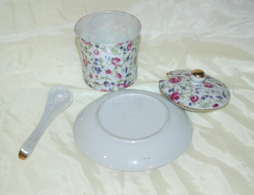Rose Chintz Jam or Condiment Jar with Under Plate and Spoon Porcelain China