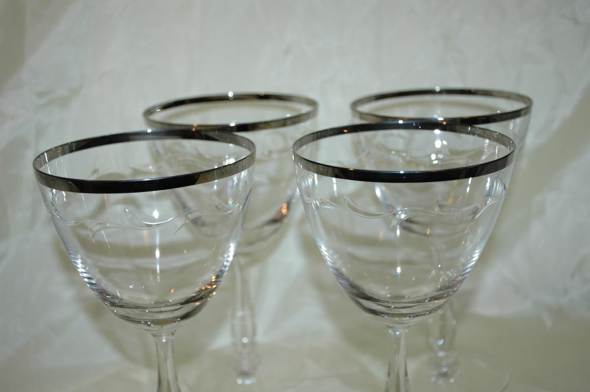 4 Wine or Cocktail Silver Rim Stemware Glasses Hand Blown and Cut Leaf Pattern