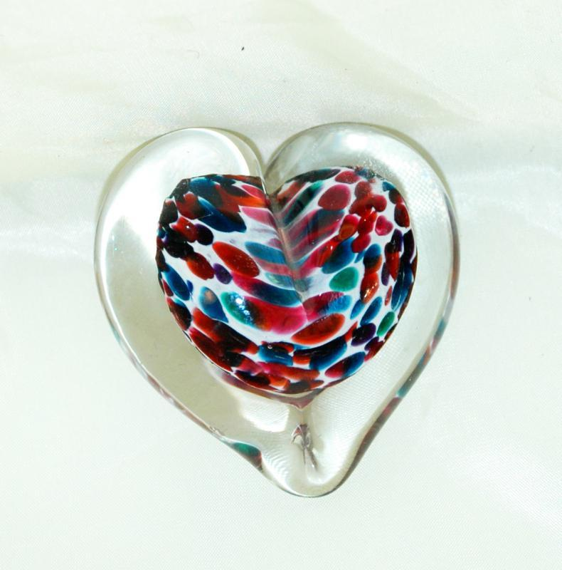 Art Glass Heart Paperweight Signed  and dated / cased glass with spatter core