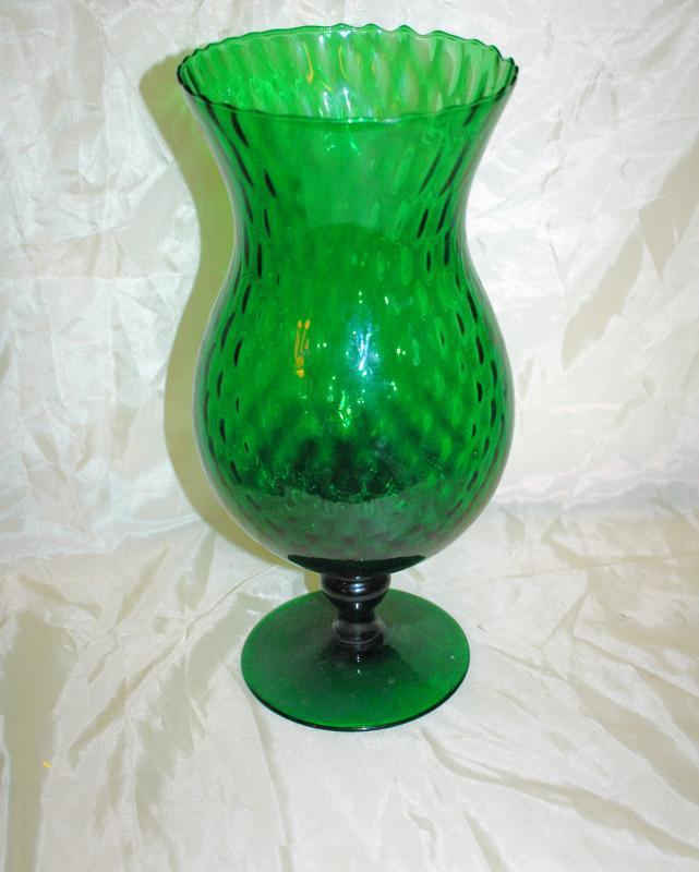 Mid-Century Green Empoli Morano Italy Diamond Optic Footed Vase / Very large