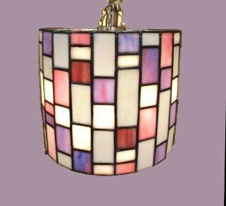 Stained Glass Swag, Hanging Lamp. Light , Purple. Pink, Red Tan