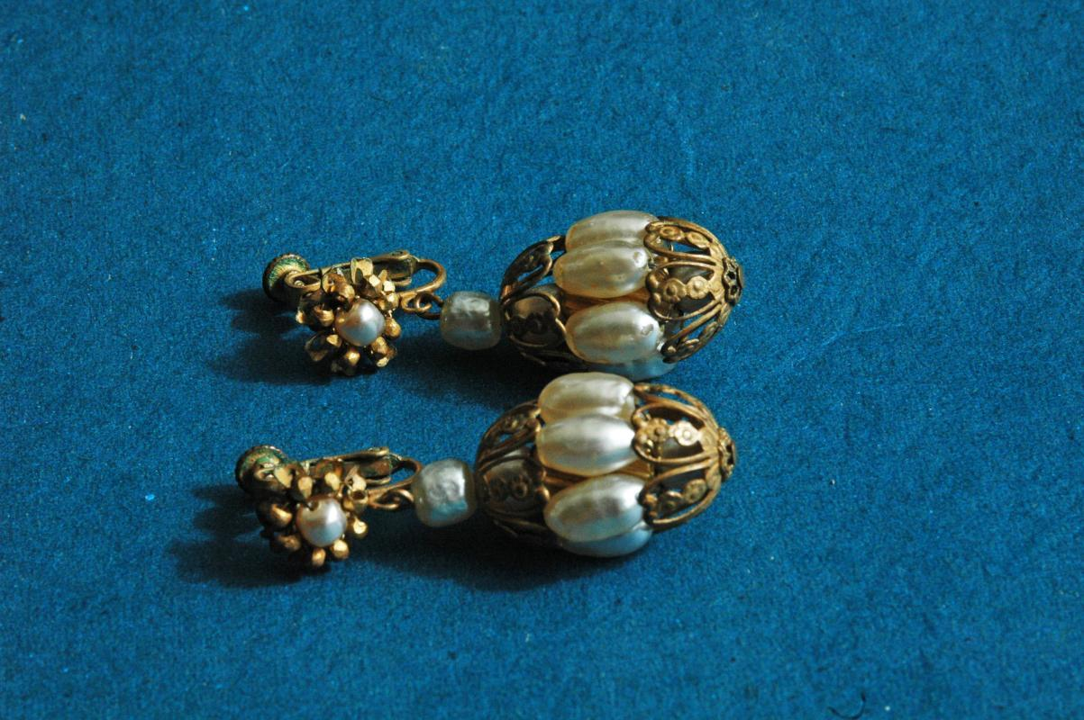 Antique Pearl Chinese Lantern Or Caged  Dangle Earrings  with Filigree brass setting