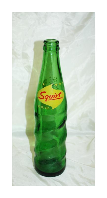 Vintage Squirt Soda Bottle Green Glass 10 oz.