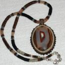 Large Montana Agate with Opal Beaded Bezel Cabochon with Beaded Rope Necklace Sterling chain and Clasp Hand Crafted