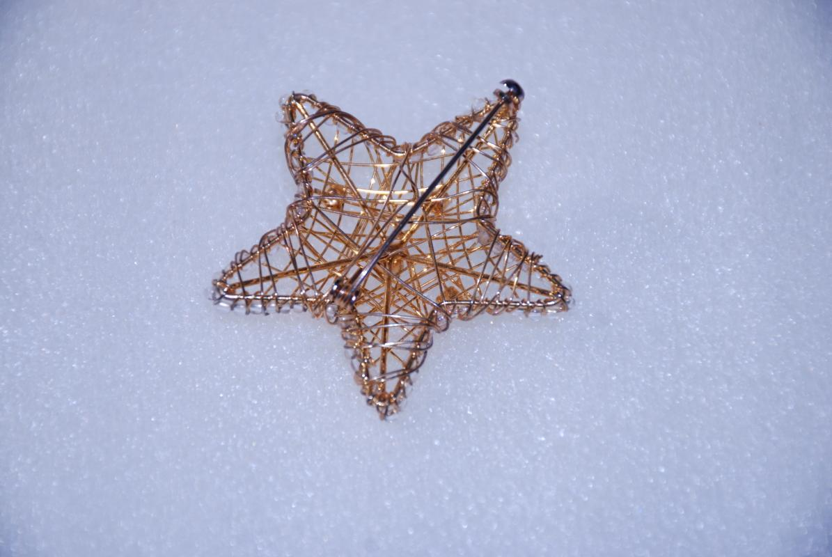 Gold Wire Work Star Pin Brooch with AB Rhinestones