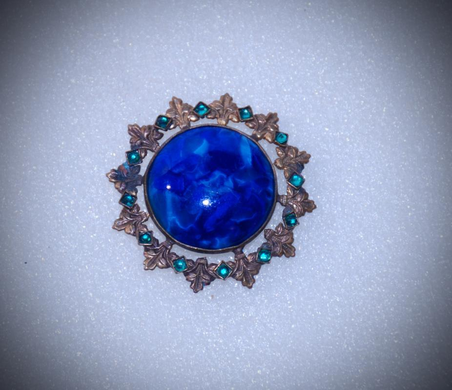 Victorian Blue Lapis Glass Stone with Green Stones Brooch /Pin