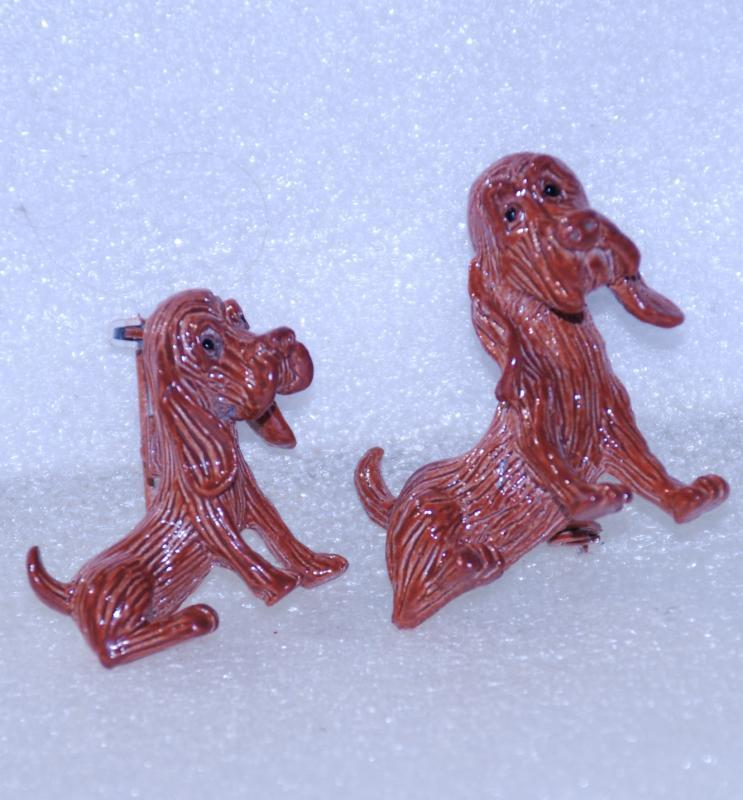 Set of Mother and Baby Hound Dog Scatter Pins