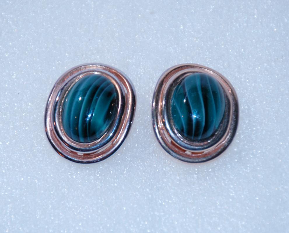 Carolee Malachite & Gold Clip on Earrings