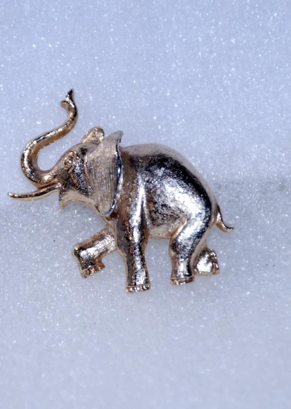 Elephant Pin Booch by Avon  Vintage , Trunk up, highly detailed
