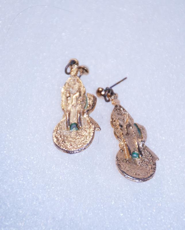 Caroling Snowman Earrings Enamel/ Gold
