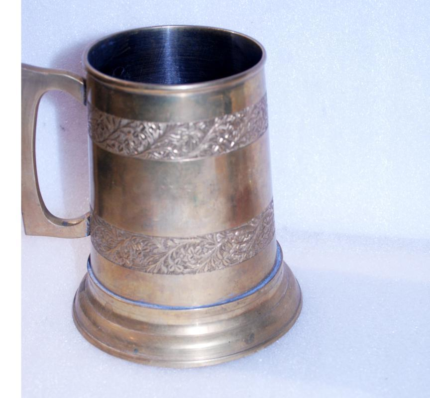Solid Brass Beer Stein with Glass Bottom