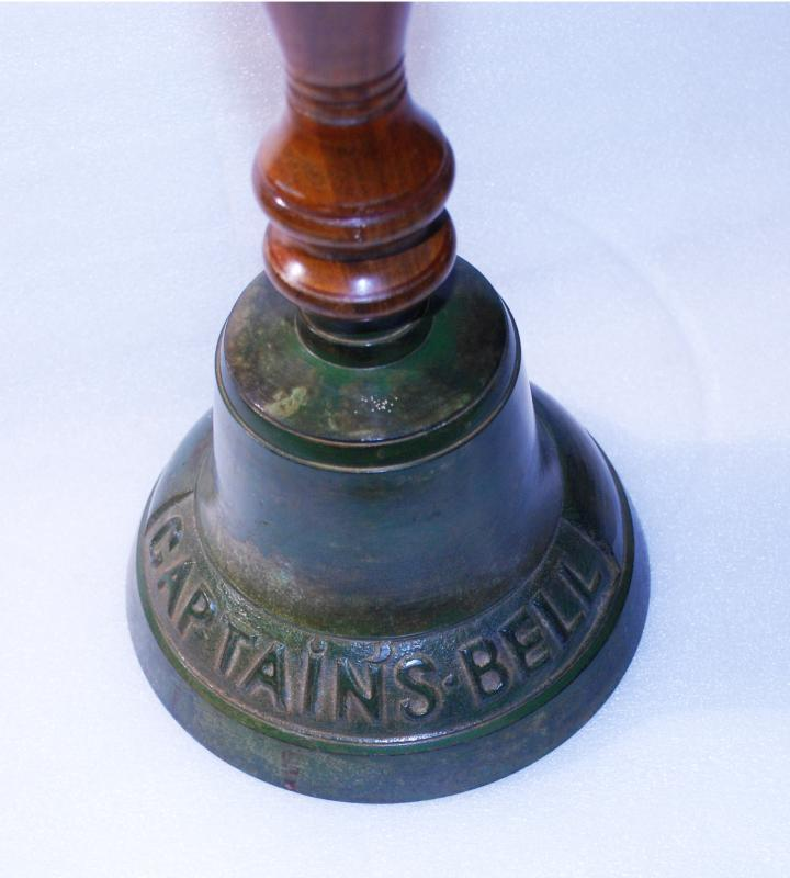 Captain's Bell , Cast Iron, Hand Held with Wood Handle, very large