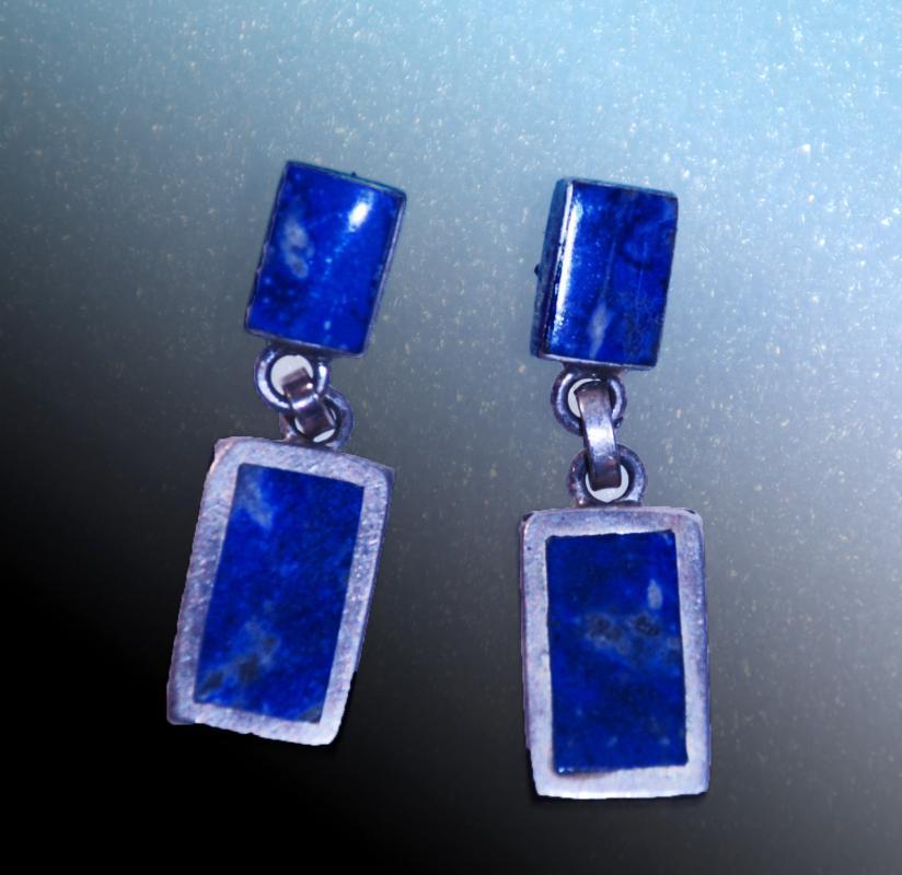 Lapis Lazuli & Sterling Silver Dangle Earrings,  Rectangular