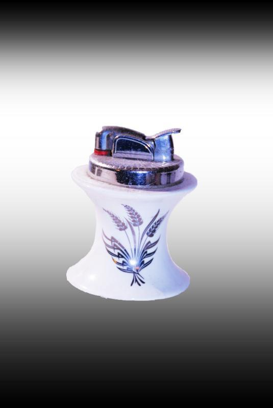 Evans Bone China Table Lighter Hour Glass Shape with Gold Wheat