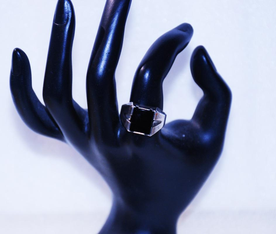 Sterling Silver Black Onyx Square Ring Size 9 Art Deco