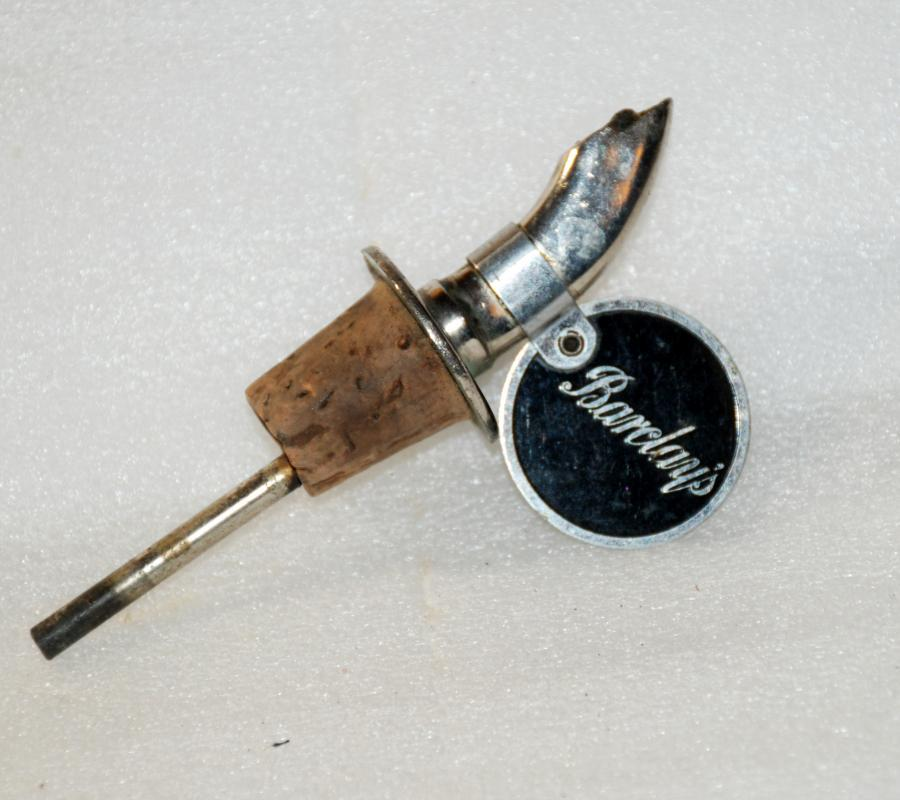 Barclay's  Cork, Stopper,  pouring Spout , Vintage Collectible / Chrome / Canadian Scotch Whiskey