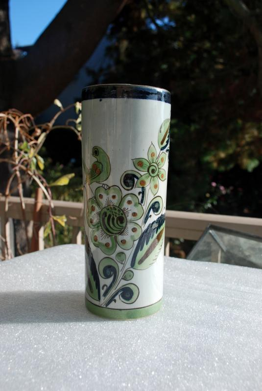 Vintage Ken Edwards Tonala Mexican Pottery Cylinder Vase   for El Palomar Greens & Blue