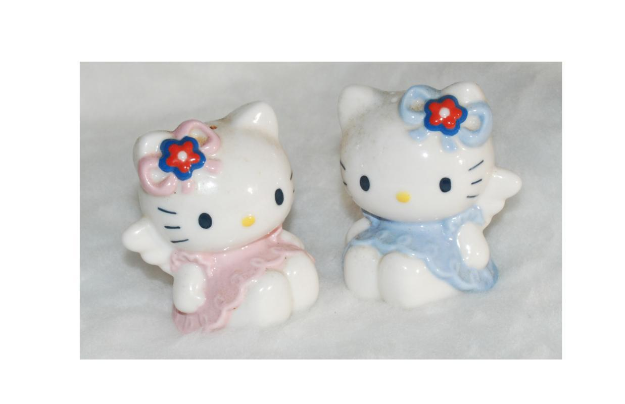 Hello Kitty Mimmy Salt Pepper Shakers Sanrio Ceramic Angel Wings Rare 1976 200