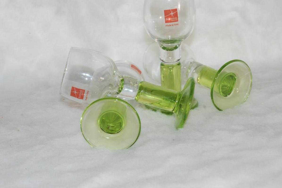 Bormioli Italy Rocco Limoncino Cordial Green Footed Shot Glasses, Set of 3