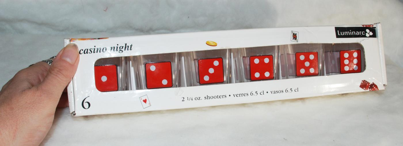 Luminarc Casino Night set of 6 Shot Glasses Party Shooters 2 1/4 Oz - Dice Motif