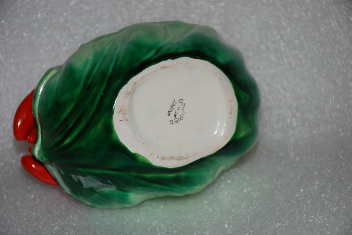 OCCUPIED JAPAN LOBSTER ON CABBAGE CERAMIC  SUGAR OR JAM BOWL CONDIMENT CONTAINER