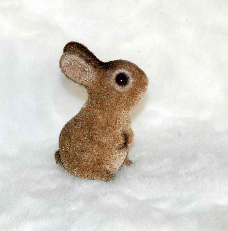 Josef Originals Flocked Bunny Figurine Brown with Glass eyes