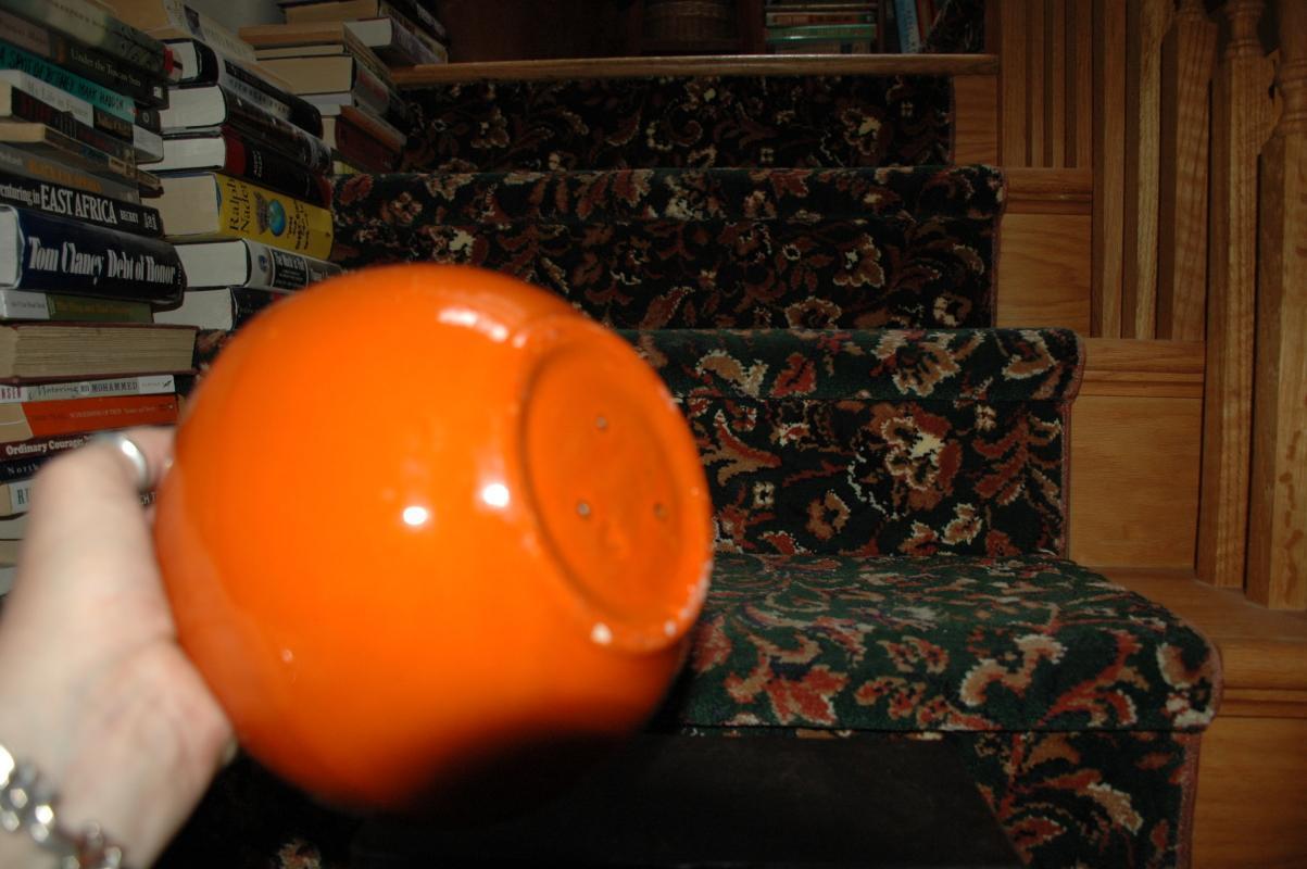 California Pottery Orange Globe Bowl with Seafoam Textured Drip Glaze